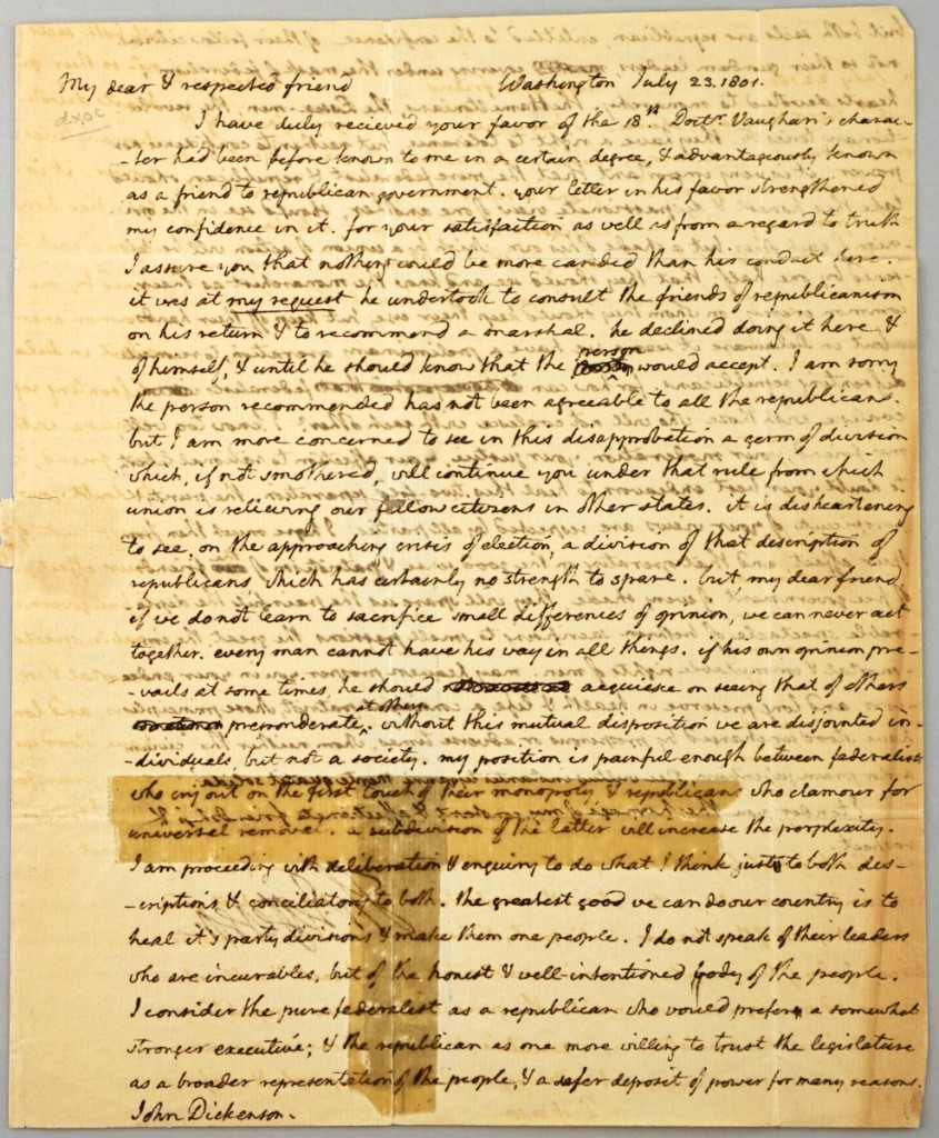From the Stewart R. Crane collection, an autographed letter from Thomas Jefferson to John Dickinson in 1801 discussing the Federalist and Republican parties sold for $53,000.