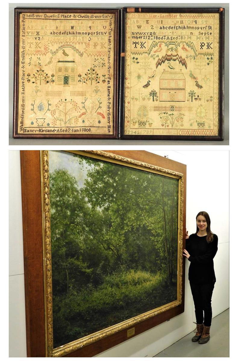 Large Landscape Painting and Folk Art Sampler