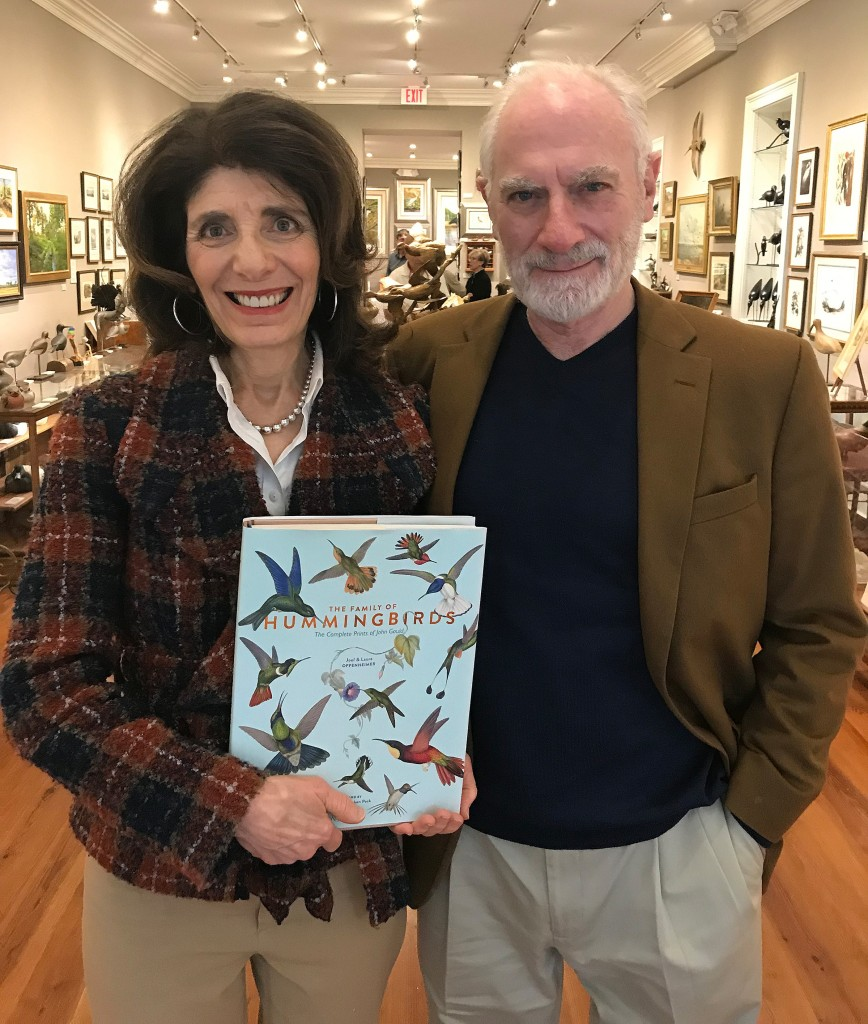 Joel and Laura Oppenheimer hold a copy of their newly released book, The Family of Hummingbirds: The Complete Prints of John Gould, published in 2018 by Rizzoli/Electa.