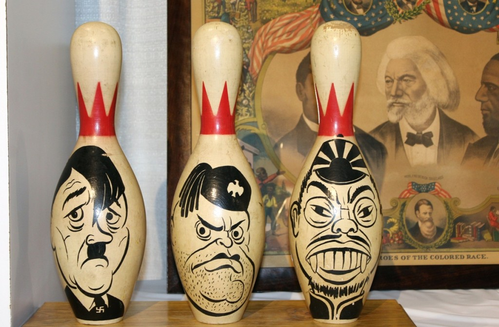 Created in the late 1940s, this set of bowling pins featuring the likenesses of Axis dictators Hitler, Mussolini and Hirohito was on offer by Battledore, Ltd/Justin Schiller, Kingston, N.Y.