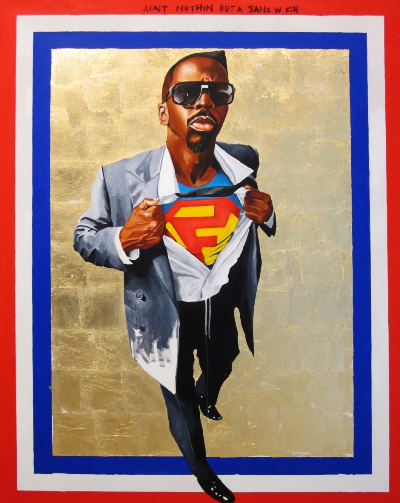 """Fahamu Pecou, """"Nunna My Heros: After Barkley Hendricks' 'Icon for My Man Superman,'"""" 1969, 2011, acrylic, gold leaf and oil stick on canvas, 63 by 49½ inches. Nasher Museum of Art at Duke University; Gift of Marjorie and Michael Levine."""