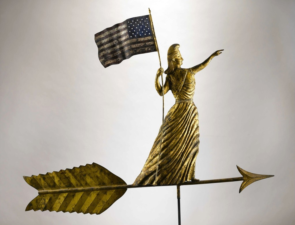 Goddess of Liberty weathervane, possibly J.L. Mott Iron Works (1828–1903), Bronx, N.Y., 1880–1900. Paint and gold leaf on copper and zinc, 43 by 52 by 4 inches. Collection of Jane and Gerald Katcher. 	        —Gavin Ashworth photo