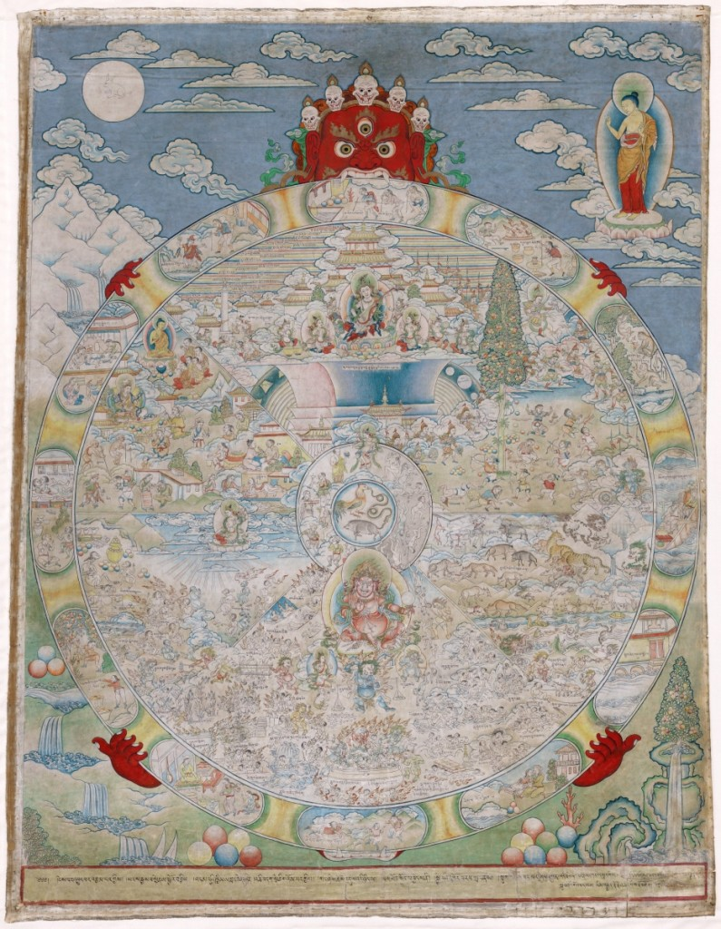 """Wheel of Life,"" circa 1800, Tibetan, Eastern Tibet, opaque watercolor on cloth. Virginia Museum of Fine Arts. Richmond Zimmerman family collection, Adolph D. and Wilkins C. Williams Fund. Photo ©Virginia Museum of Fine Arts."