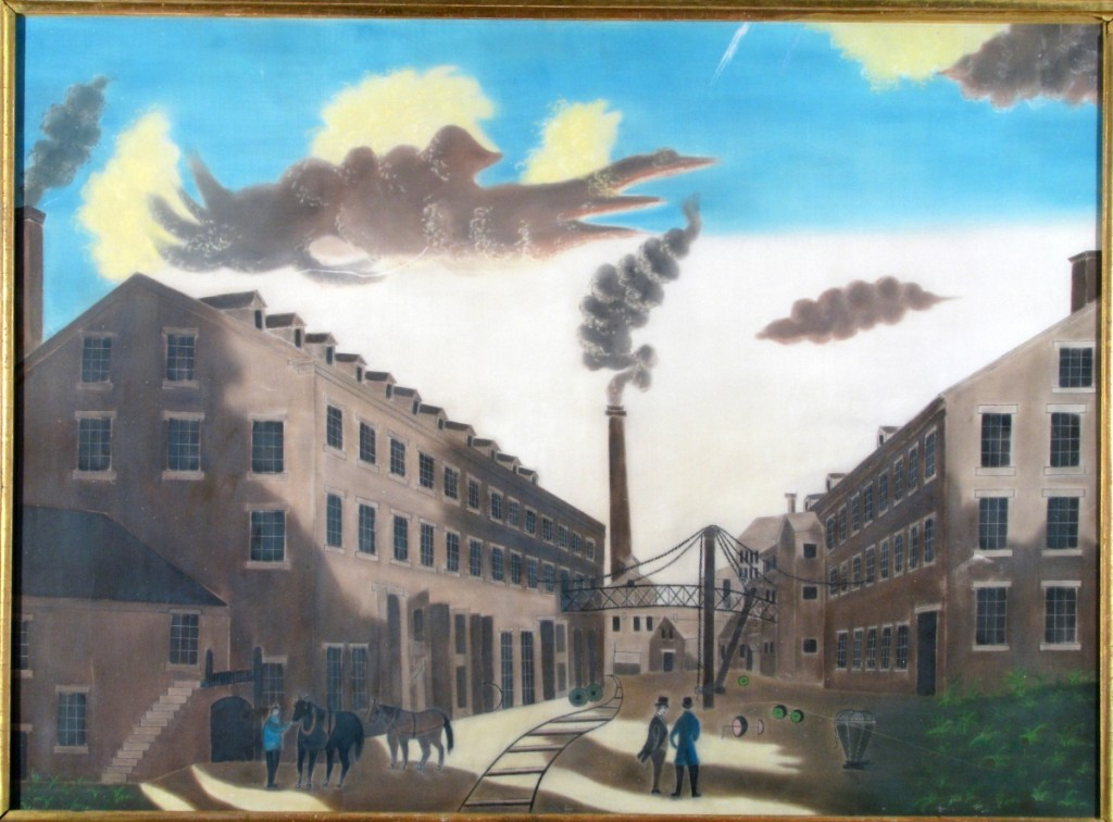 """""""View of Amoskeag Millyard,"""" attributed to James B. Baker, circa 1840. Pastel; 18 by 25 inches. Manchester Historic Association.    —TK photo"""