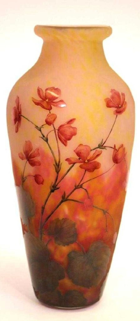 Of the several pieces of French art glass in the sale, this 13-inch signed Daum Nancy etched and enameled vase with pink floral designs, which ended up at $3,900, was the highest priced.