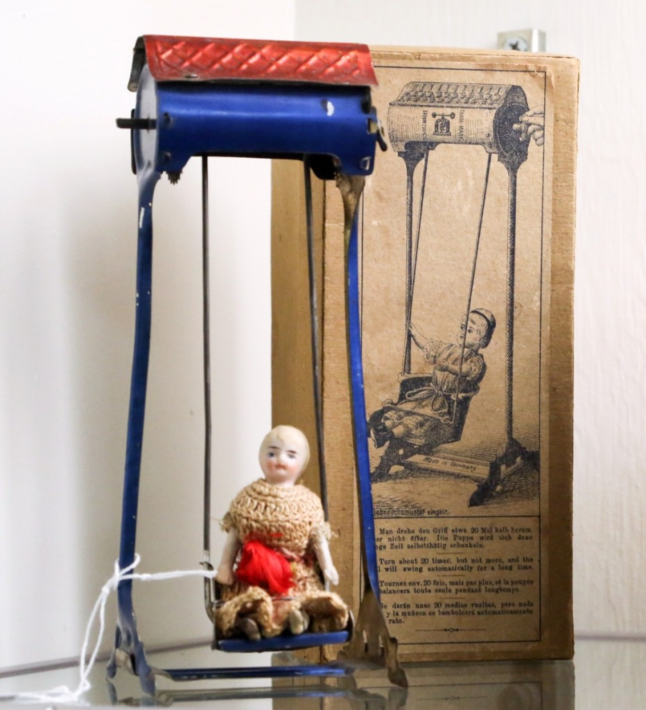 This Doll in Swing by Lehmann set an auction record for the model at $13,200. According to the auctioneer, its box is the only one known to have survived.