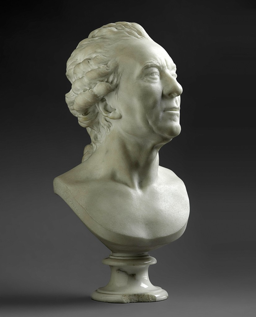 "Jean Antoine Houdon (French, 1741-1828), bust of Georges-Louis Leclerc, Comte de Buffon, 11-  inches, signed and dated ""houdon f 1789,"" was the second top lot when it sold at $696,200."