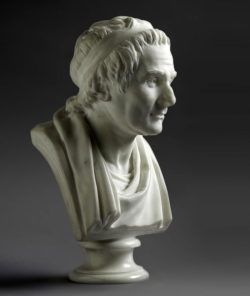 "French Eighteenth Century sculptor Jean-Antoine Houdon (1741–1828), bust of Jean-Jacques Rousseau in Serevezza marble, signed and dated ""houdon f 1788,"" and 10-4/5 inches, sold at $778,800, making it the top lot of the auction."