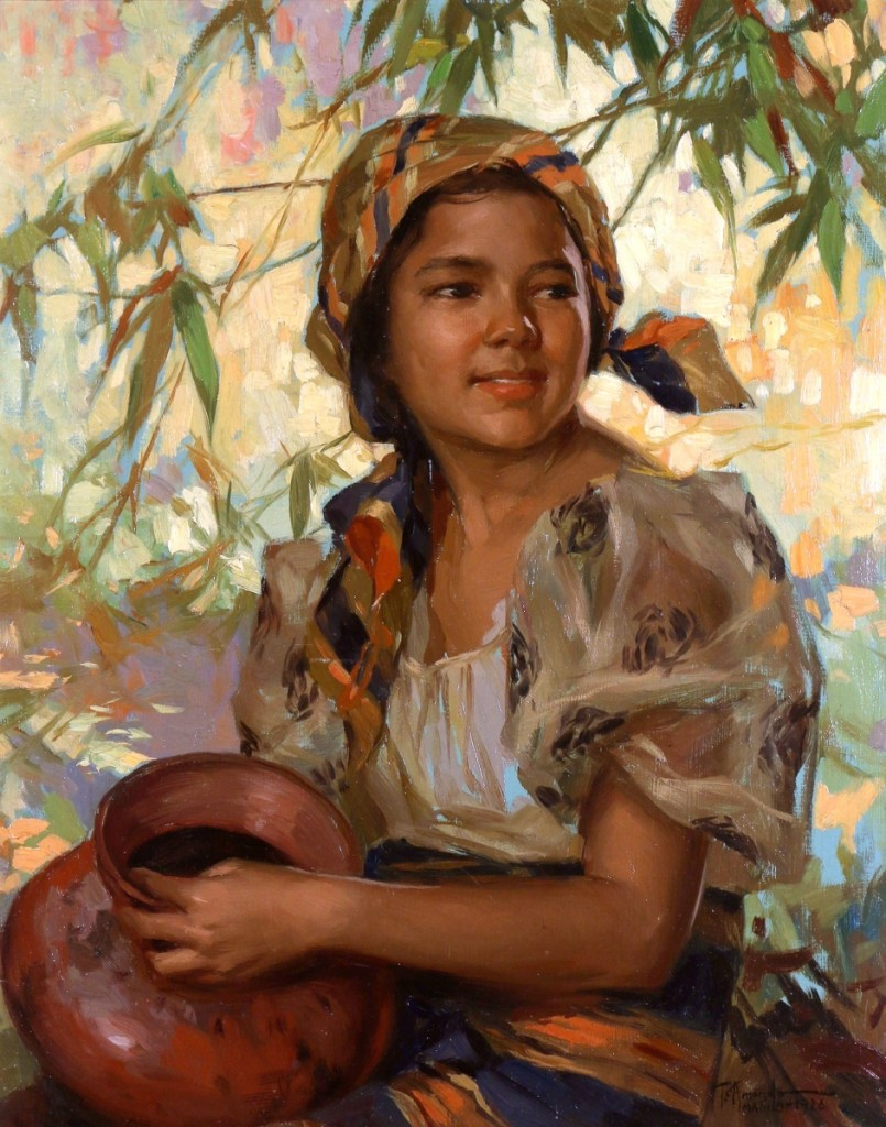 "Leading the sale at $207,400 was ""Dalagang Bukid (Woman with Banga)"" by Fernando Cueto Amorsolo (1892–1972), 1926, ($30/50,000)."