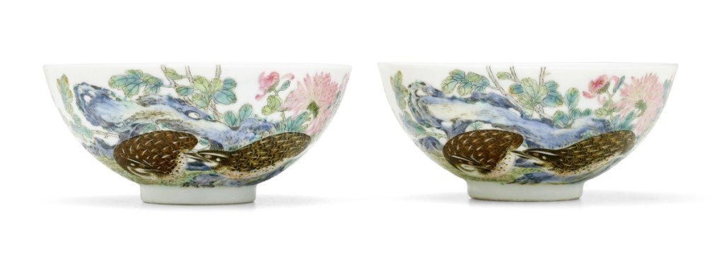 "The highest selling lot at Bonhams Asia Week — and the top lot in the Chinese Works of Art sale — was this exceptionally rare pair of imperial famille rose ""quails and chrysanthemums"" bowls, Yongzheng six-character marks and of the period, which sold for $1,040,075 ($300/500,000)."
