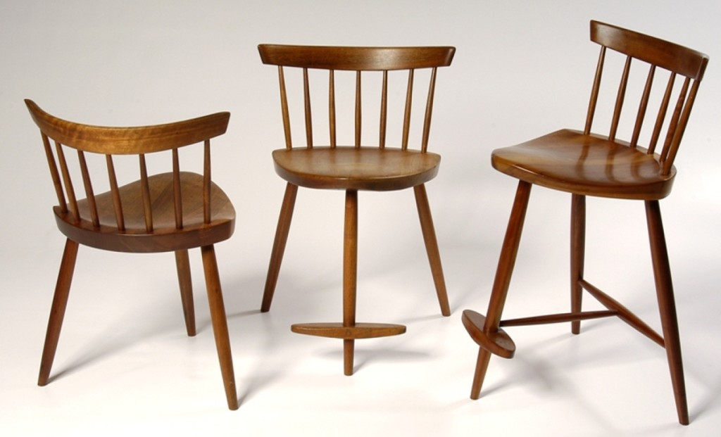 George Nakashima (1905–1990), three Mira Chairs, circa 1952. American black walnut and poplar. Heights are 24½ by width 19 by depth 19 inches; height 28½ by width 19 by depth 19 inches; height 33 by width 19 by depth 19 inches. George Nakashima Woodworkers.