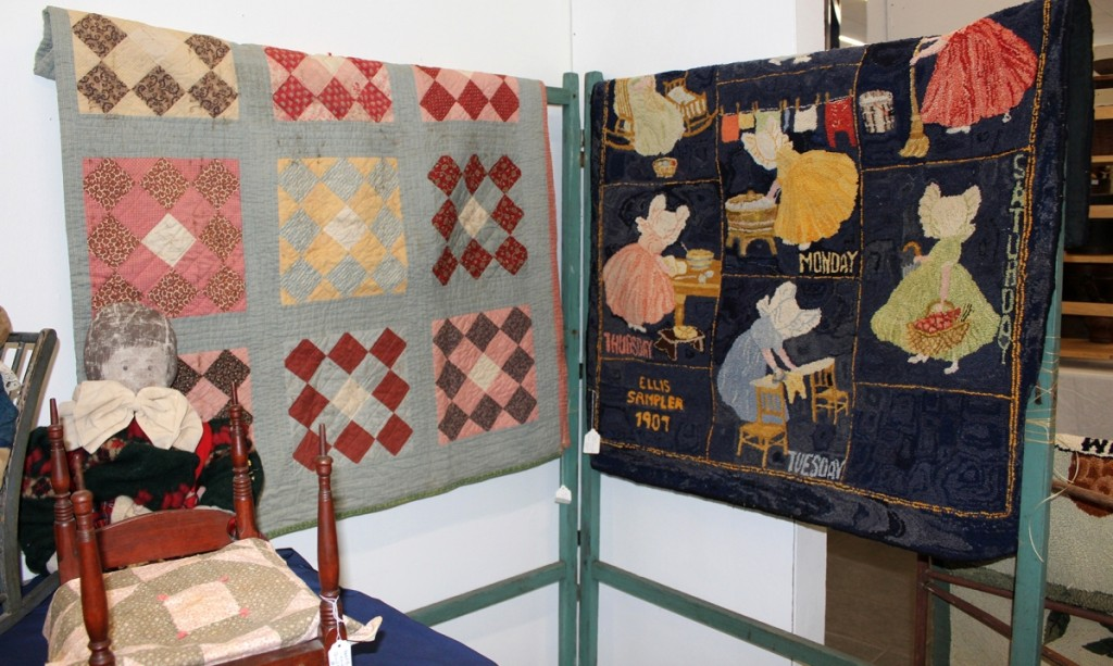Dated 1907 and illustrating household chores for each day of the week, the Ellis sampler hooked rug at right carried the legend that it was finished by Thelma Foster in 1980. It was shown by Mary White, Rowley, Mass.