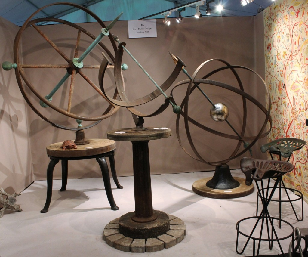 Gary Hume is a metal artist from Stratham, N.H. Best known for his armillary type sculptures, he filled a small space at the show with some of his creations.