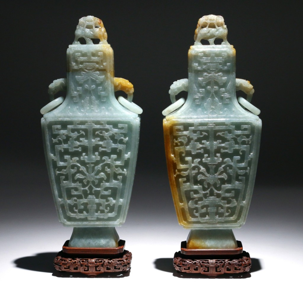 Nine phone lines — the most Butterscotch could manage — were in use for this pair of Chinese archaistic jadeite vases with covers, which had been estimated at $8/12,000. After heated competition, an internet bidder in China prevailed against an American private collector, taking them for $115,900.