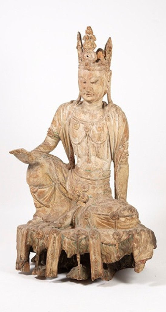 Chinese carved wood figure of Avalokiteshvara, Yuan/Ming dynasty ($150/250,000).