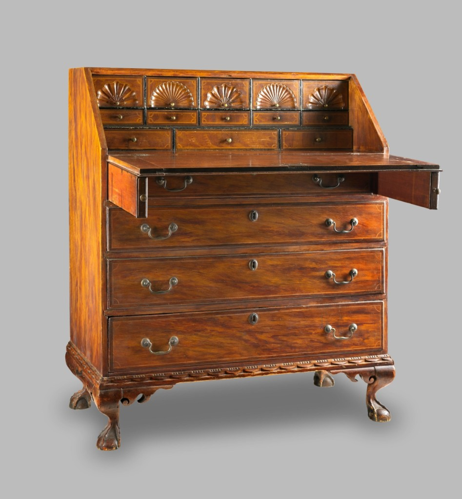 Desk, attributed to Samuel Dunlap (1752–1830), Henniker, N.H., late Eighteenth Century. Painted maple, white pine. Private collection.