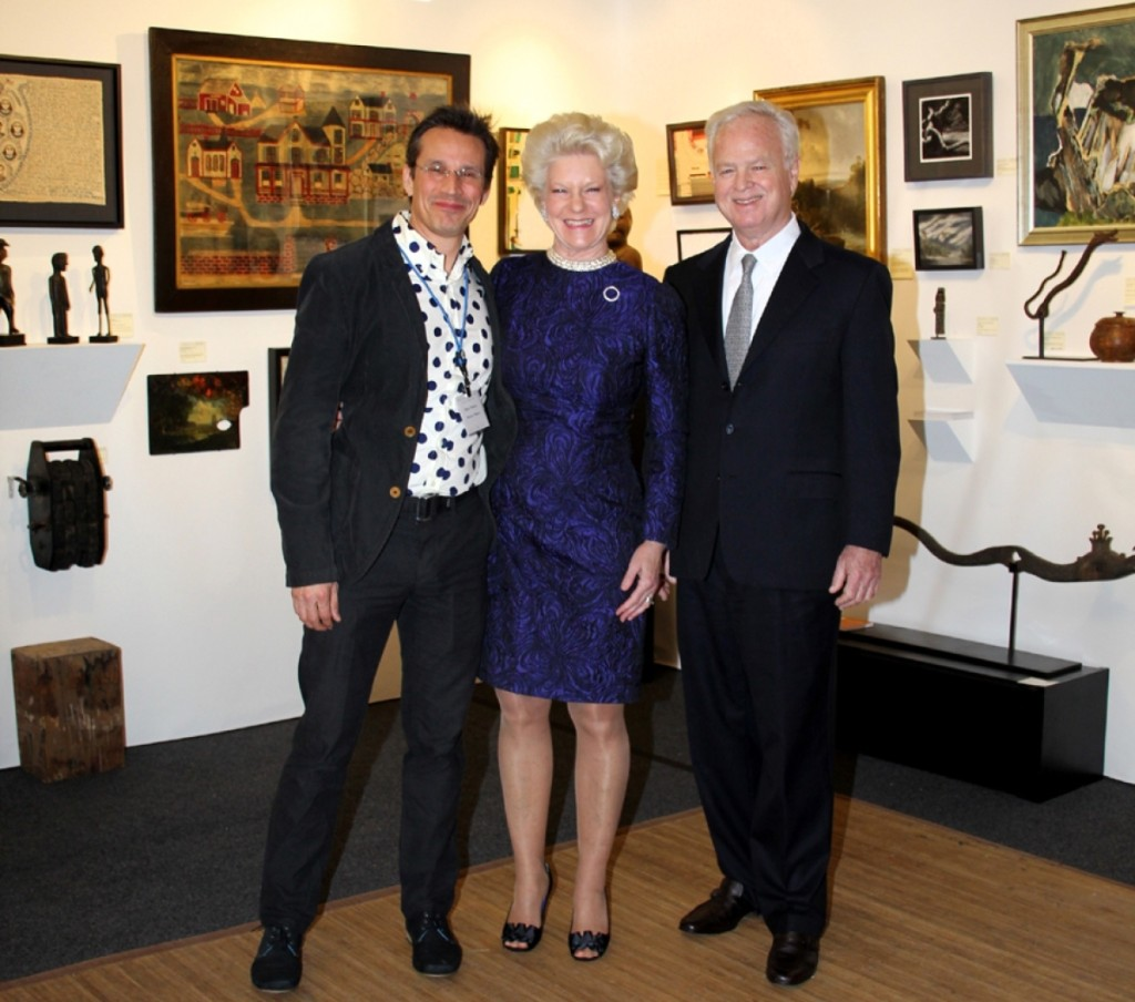 Elected in 2016, ADA president Steven S. Powers, left, here with Nancy and Ben Taylor at the Philadelphia Antiques and Art Show, is updating the organization and broadening its scope.