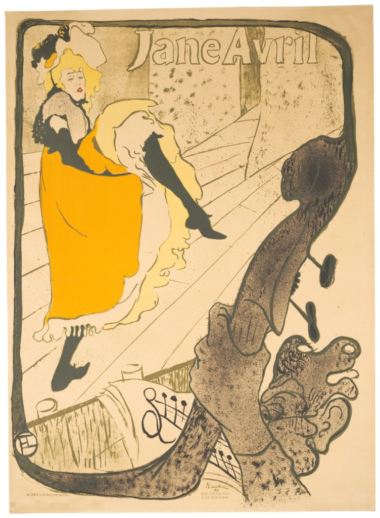 """Jane Avril"" by Henri de Toulouse‑Lautrec (French, 1864–1901), 1893. Lithograph. The Metropolitan Museum of Art, Harris Brisbane Dick Fund, 1932. Courtesy, Museum of Fine Arts, Boston."