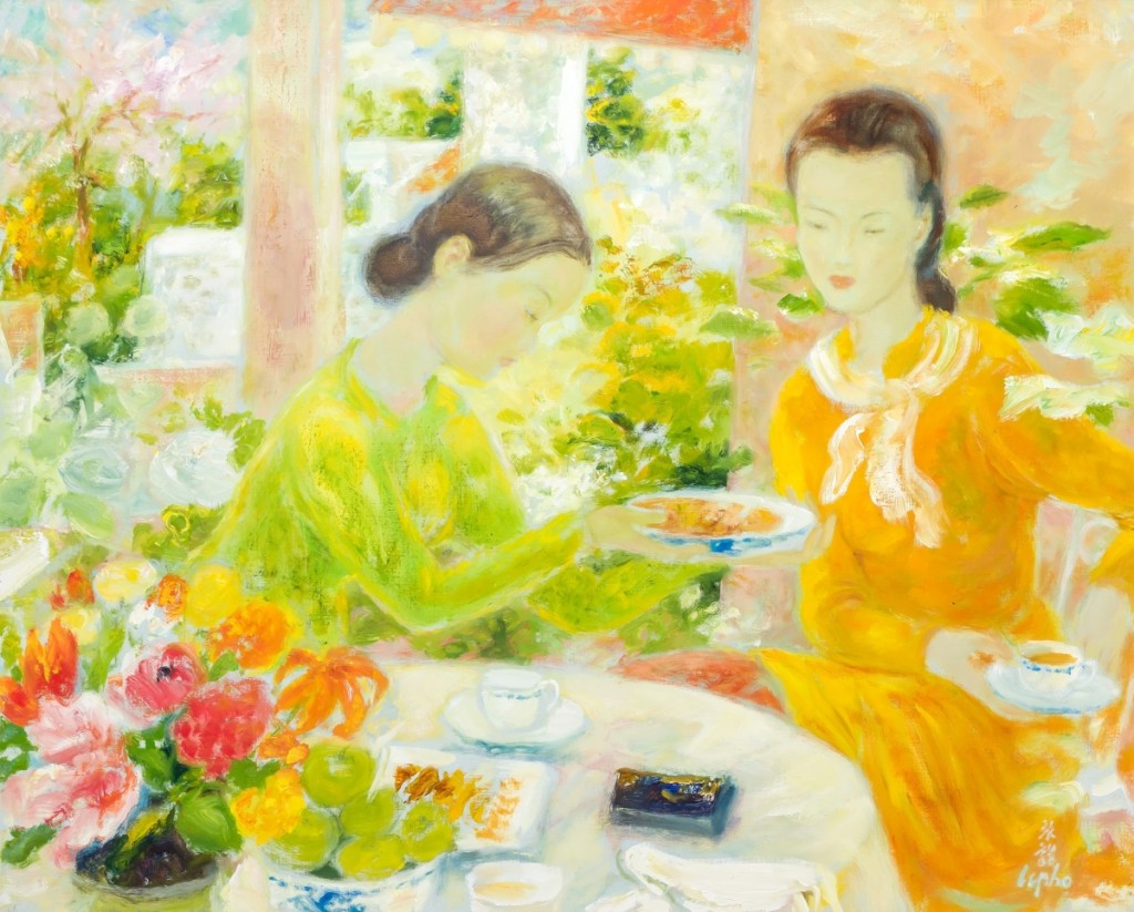 """The sale's top lot at $100,000 was Le Pho's (1907–2001), """"Le Thé (Tea Time),"""" oil on canvas, signed, 32 by 39½ inches."""