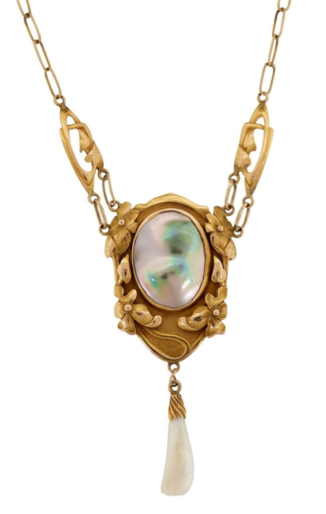 Kalo gold necklaces are rare. This Kalo Shop 14K gold pendant with pearls was the top lot in the sale, selling to a private collector for $20,000 ($5/7,000).