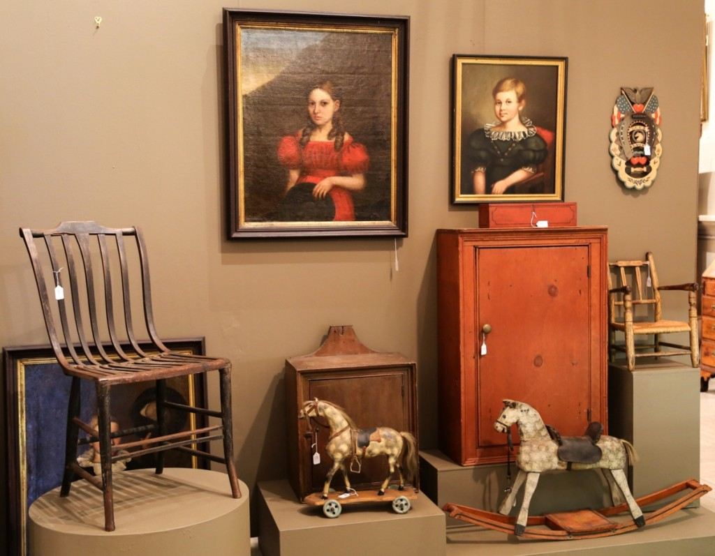 The Federal painted side chair at left was made by Nineteenth Century Boston maker Samuel Gragg and it sold for $2,250. Both horses and the child's chair were in a group lot from the Gachot collection. They brought $1,750.
