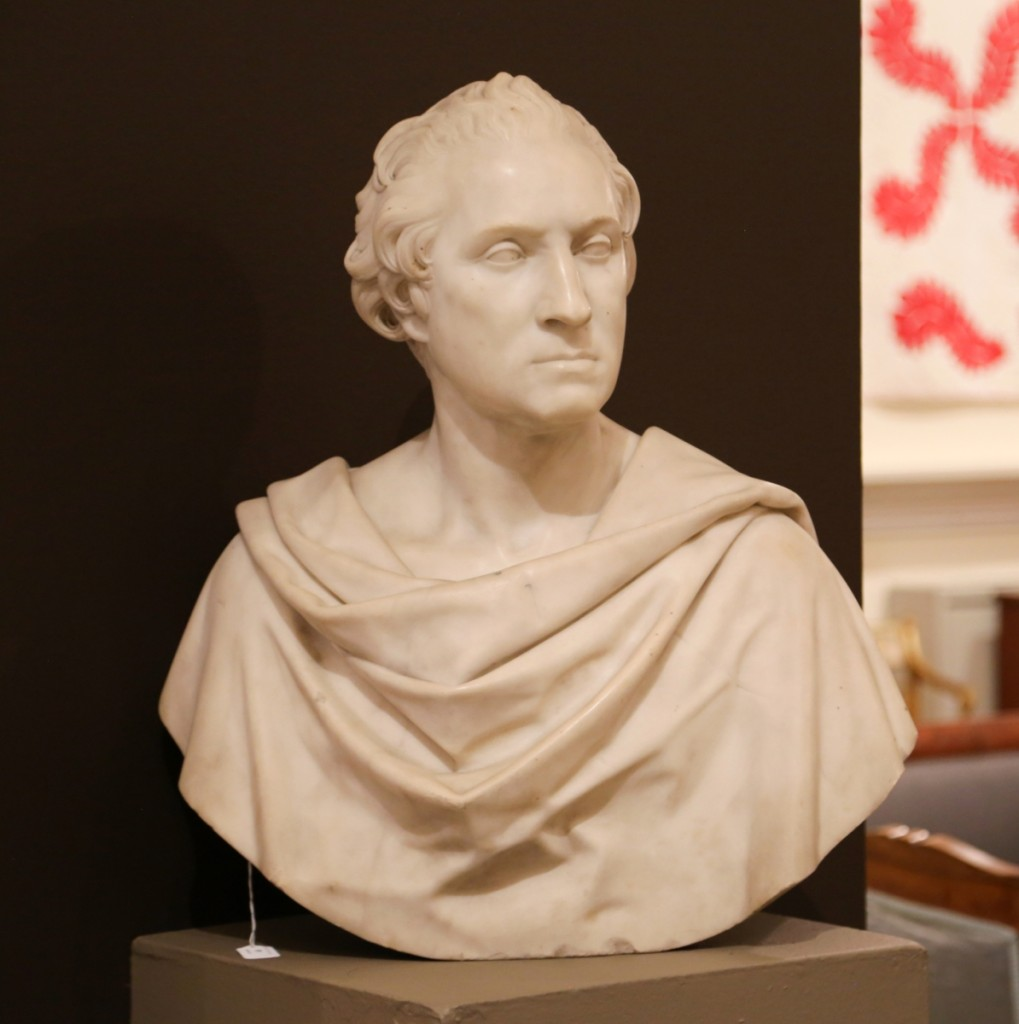 The top lot of the sale went to this marble bust of George Washington attributed to American Italian sculptor Horatio Greenough (1805–1852). It sold for $43,750 above a $15,000 high estimate. Washington was a repeat subject of Greenough, who sculpted a full-size marble work of the president on a commission from Congress in 1832.