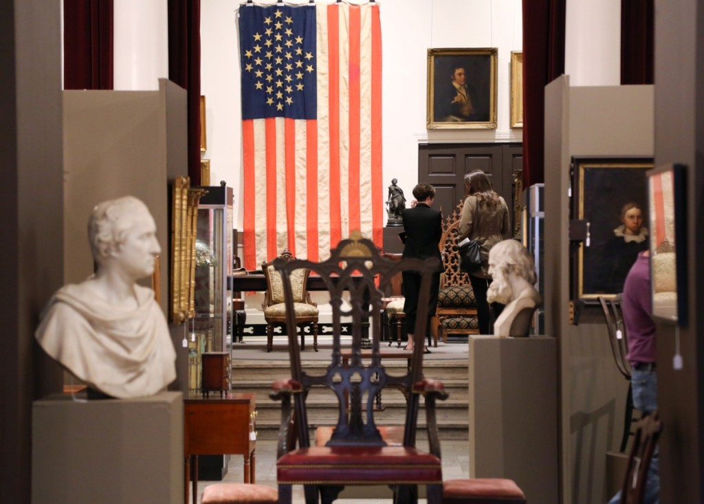 The preview room was organized before a backdrop of a large 39-star American flag, circa 1876-1889, that took $2,730.