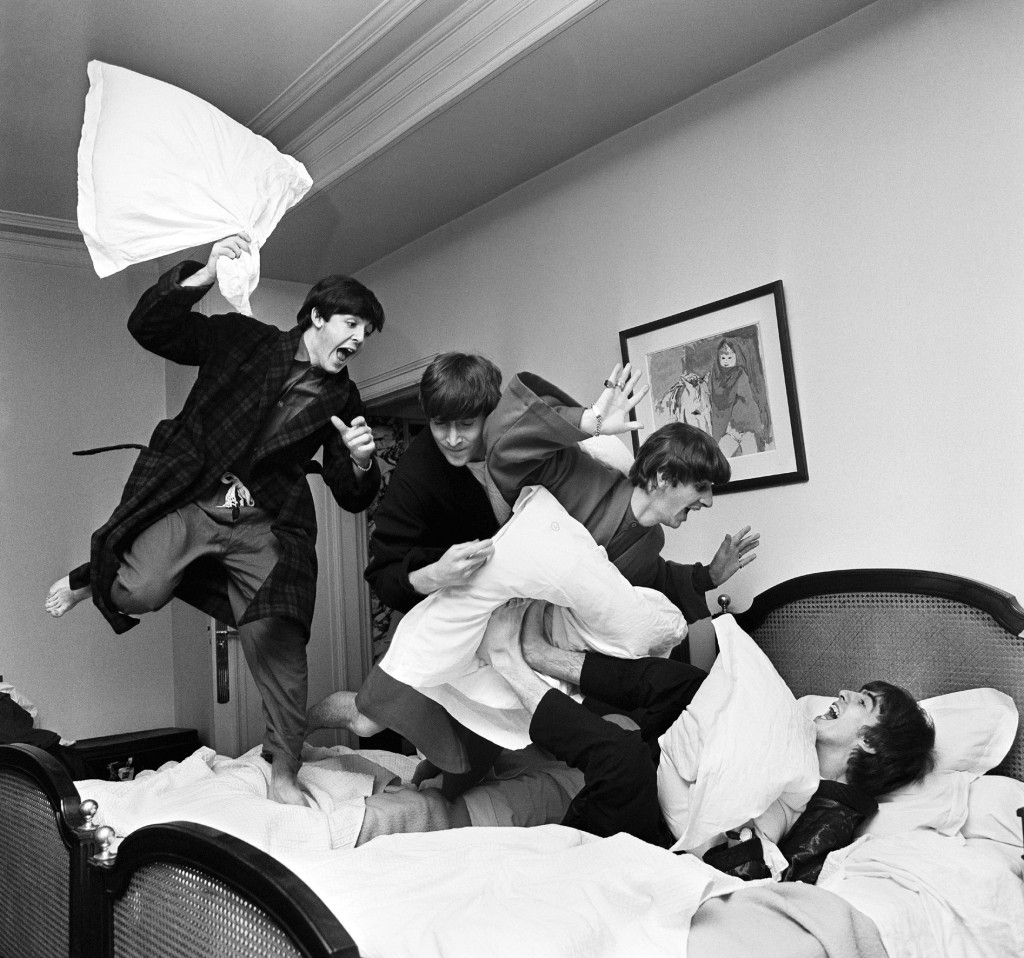 """The Beatles: Pillow Fight, Paris"" by Harry Benson, 1964. Courtesy Staley-Wise Gallery, New York City."