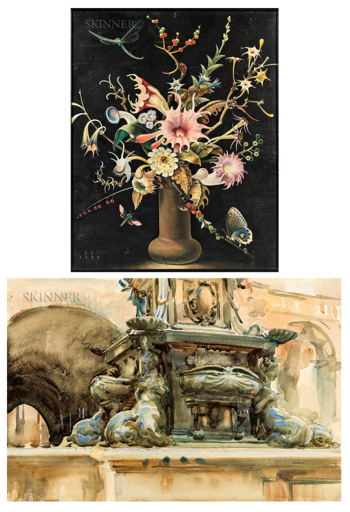 """Both Franz Sedlacek's """"Blumenstück,"""" top, and John Singer Sargent's """"Bologna Fountain,"""" finished at $183,000 in Skinner's May 10 sale."""