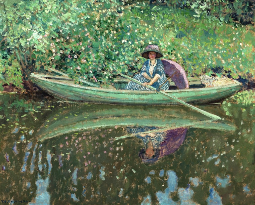 """On the River"" by Frederick Carl Frieseke, 1908. Oil on canvas. Collection of Carolyn A. and Peter S. Lynch. Photography by Bob Packert/Peabody Essex Museum."