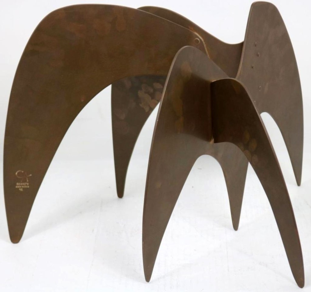 """""""Grazing Elephants,"""" a copper and bronze sculpture by Alexander Calder, was the highest priced item in the sale, realizing $29,250."""