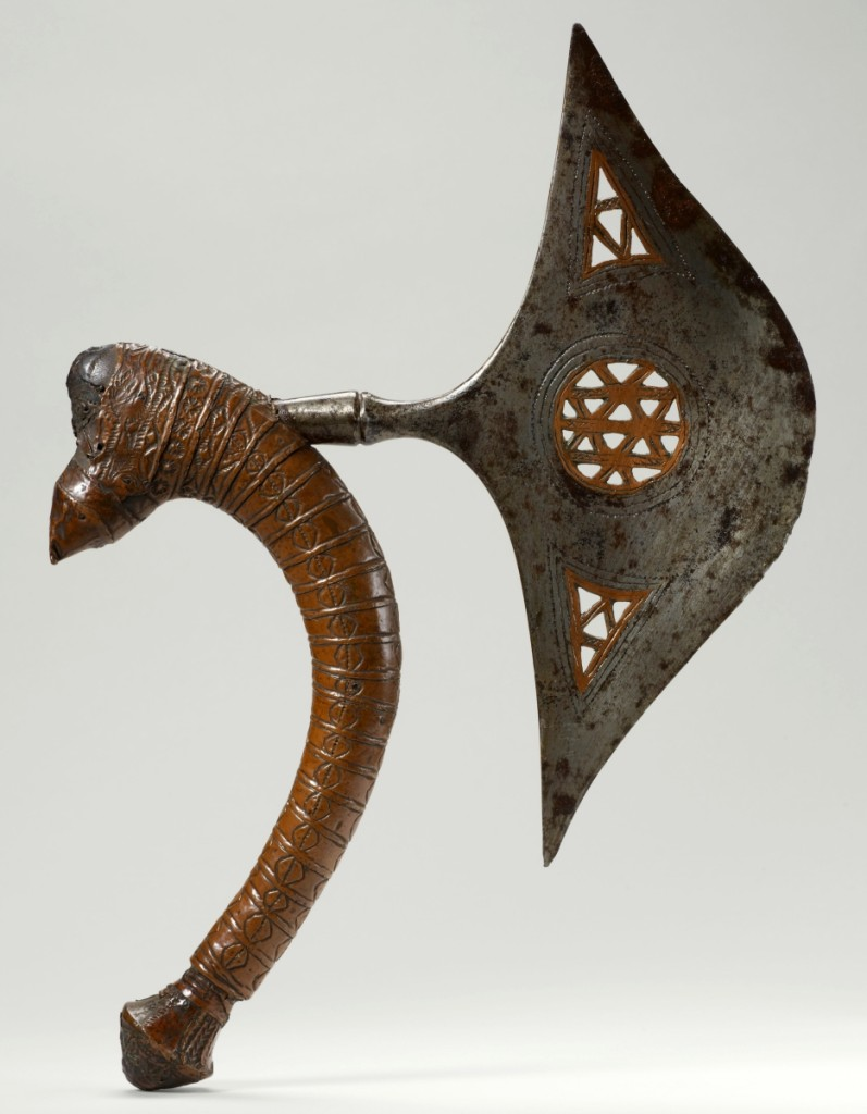 In this single work, the artist employed chiseling, punching, inlaying, chasing, engraving, scoring, raising, wrapping, stamping and embossing, among other techniques. Such a blade added to a blacksmith's honor and influence in the community, with both owner and artist distinguished every time it was displayed in public. Ceremonial axe by Chokwe or Lunda artist, Democratic Republic of the Congo, early Twentieth Century. Wood, iron, copper. Musée du quai Branly-Jacques Chirac, Paris.