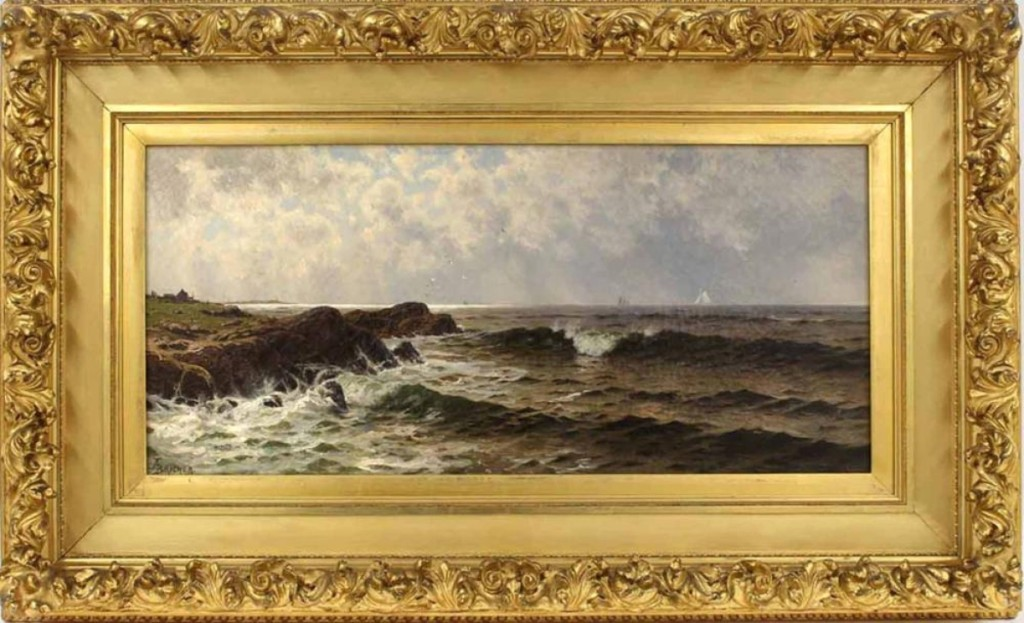 The highest priced item in the sale was a painting of a scene along the Atlantic coastline between Thatcher Island and Twin Lights, Gloucester, Mass., with sailboats in the distance. Done by Alfred Thompson Bricher, it realized $30,000.