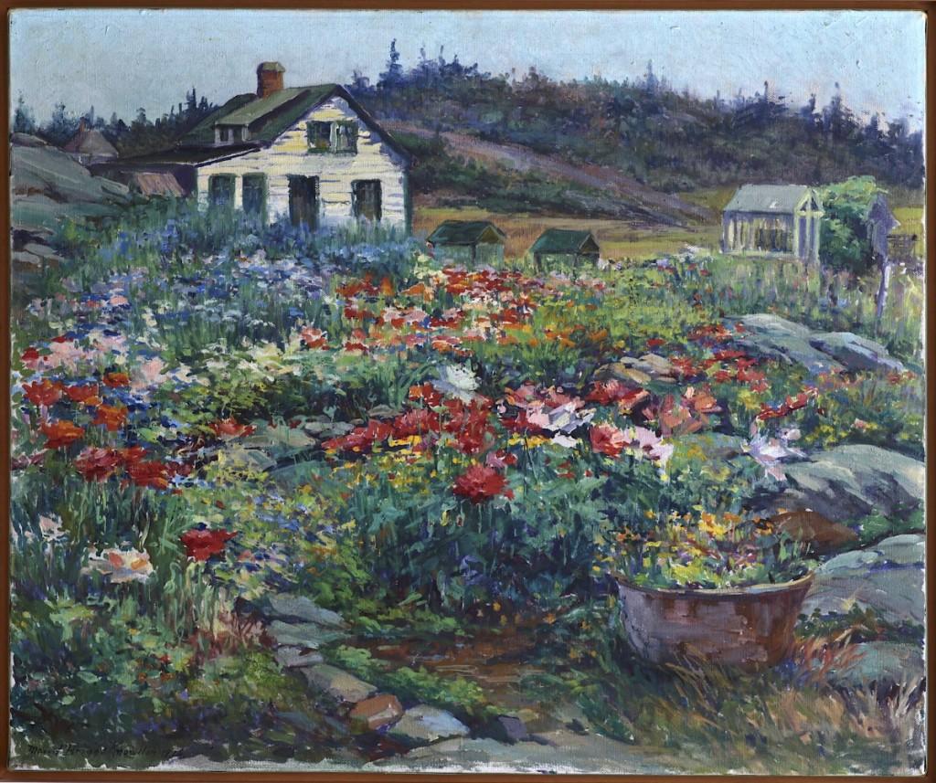 """Hilltop Garden, Monhegan"" by Maud Briggs Knowlton, 1926. Oil on canvas, 5 by 30 inches. Private collection."