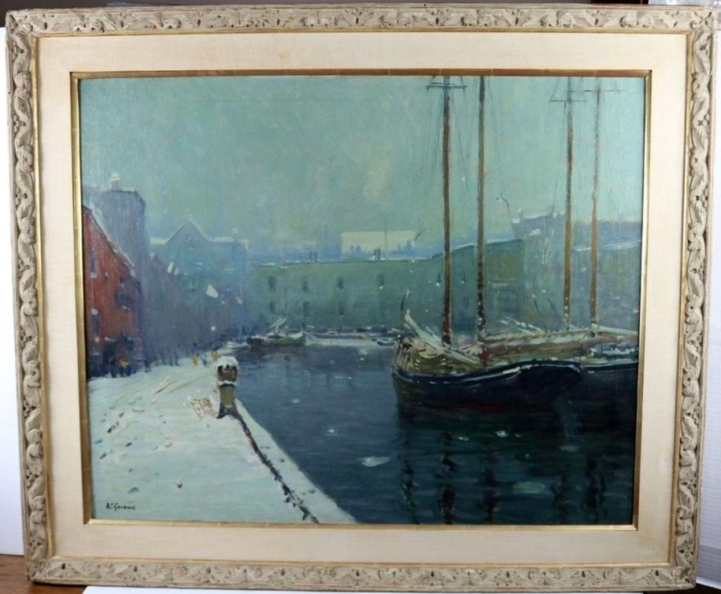 """Arthur Clifton Goodman (1864–1929) was known for his paintings of Boston. This one, tilted """"T Wharf,"""" was a Boston harbor winter scene. It had an exhibition label from the Museum of Fine Arts, Boston, and it sold for $7,020."""