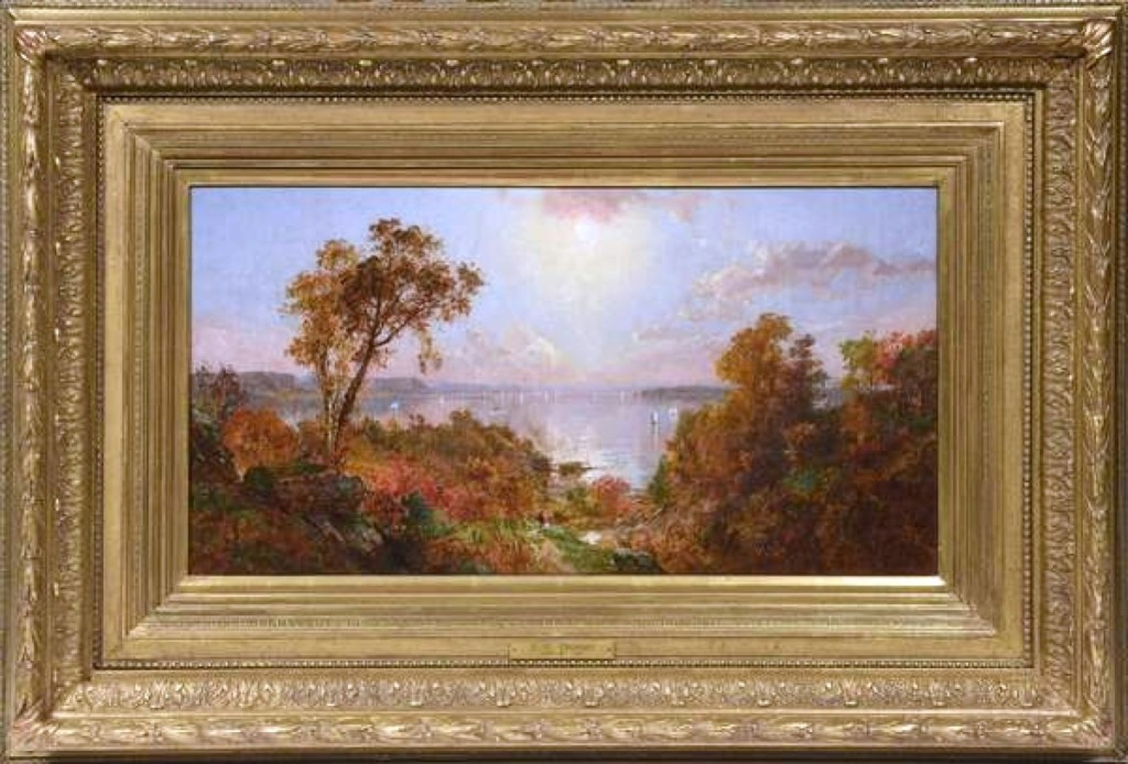 At $80,500, a Hudson River scene by Jasper Cropsey, was the star of the sale. It had impeccable provenance, being a gift from the artist to the family that owned it.
