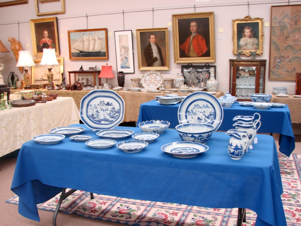 A portion of the large collection of blue and white Canton. Some pieces were sold individually and some in lots.