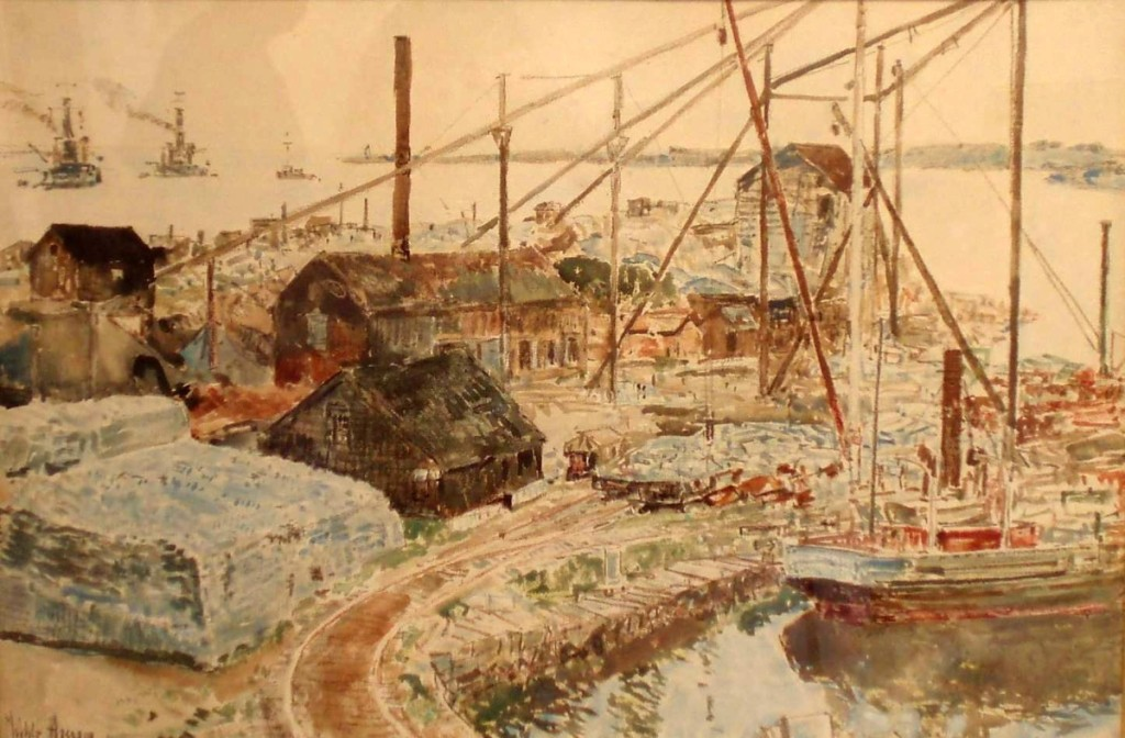 "Childe F. Hassam (1859–1935), ""Granite Pier, Rockport"" 1919, pencil, crayon and watercolor on paper."