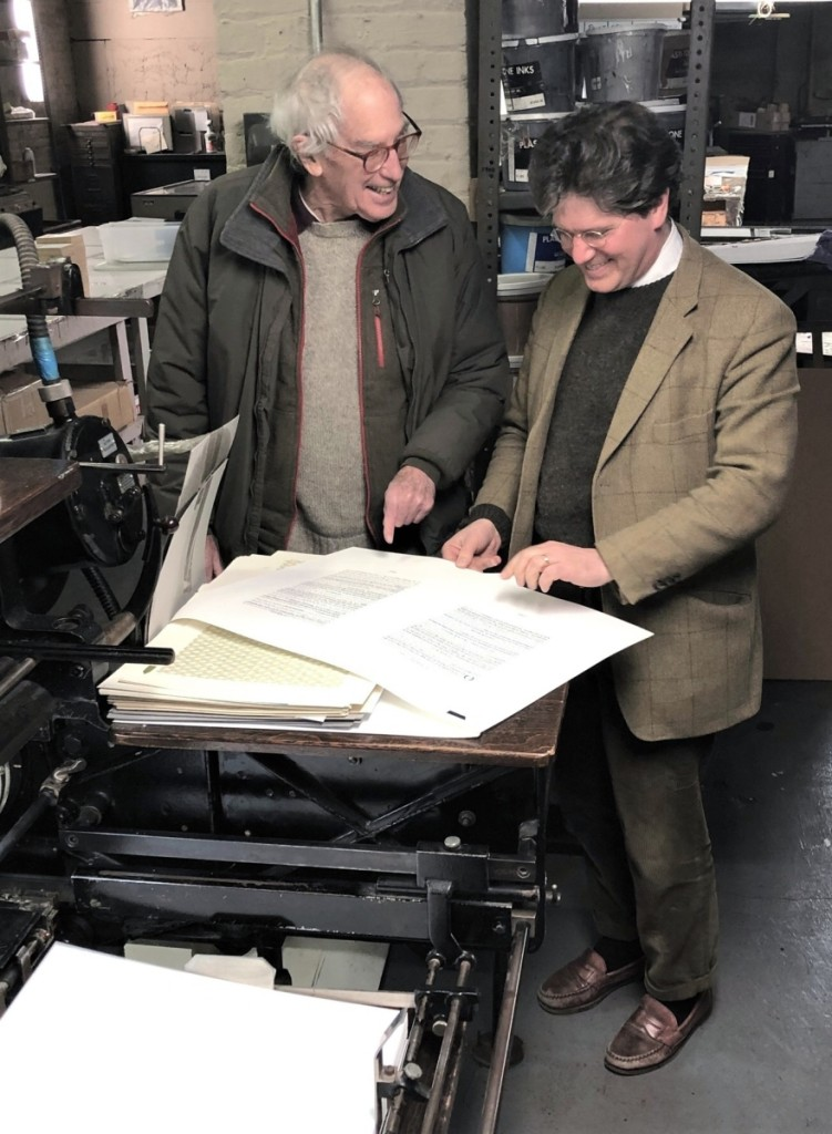 Scholar Morrison H. Heckscher and publisher Luke Ives Pontifell review pages at Thornwillow, the fine press Pontifell operates in Newburgh, N.Y.