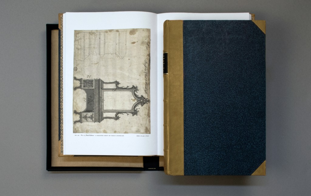 State-of-the-art digital files were used to create facsimiles of the original drawings in Thomas Chippendale's Original Drawings for The Director. The drawing for Plate 90, a dressing chest or table and bookcase, shown here, is in the Met's collection and appeared as an engraving in all three editions of the Director.