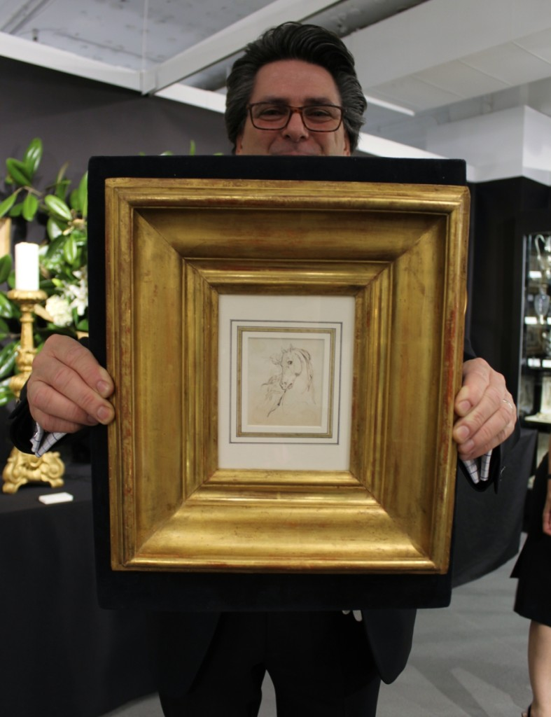 Thierry Doussiere holding an ink drawing of a horse by Leon Cogniet. Silver Art by D&R, Marseille, France & Baltimore, Md.
