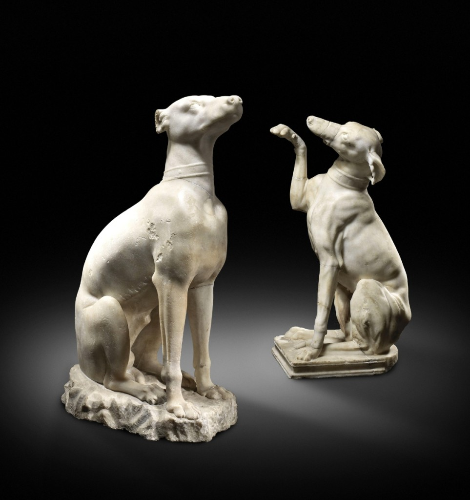 Two Roman marble figures of Celtic hounds,   circa Second Century CE ($250/380,000).
