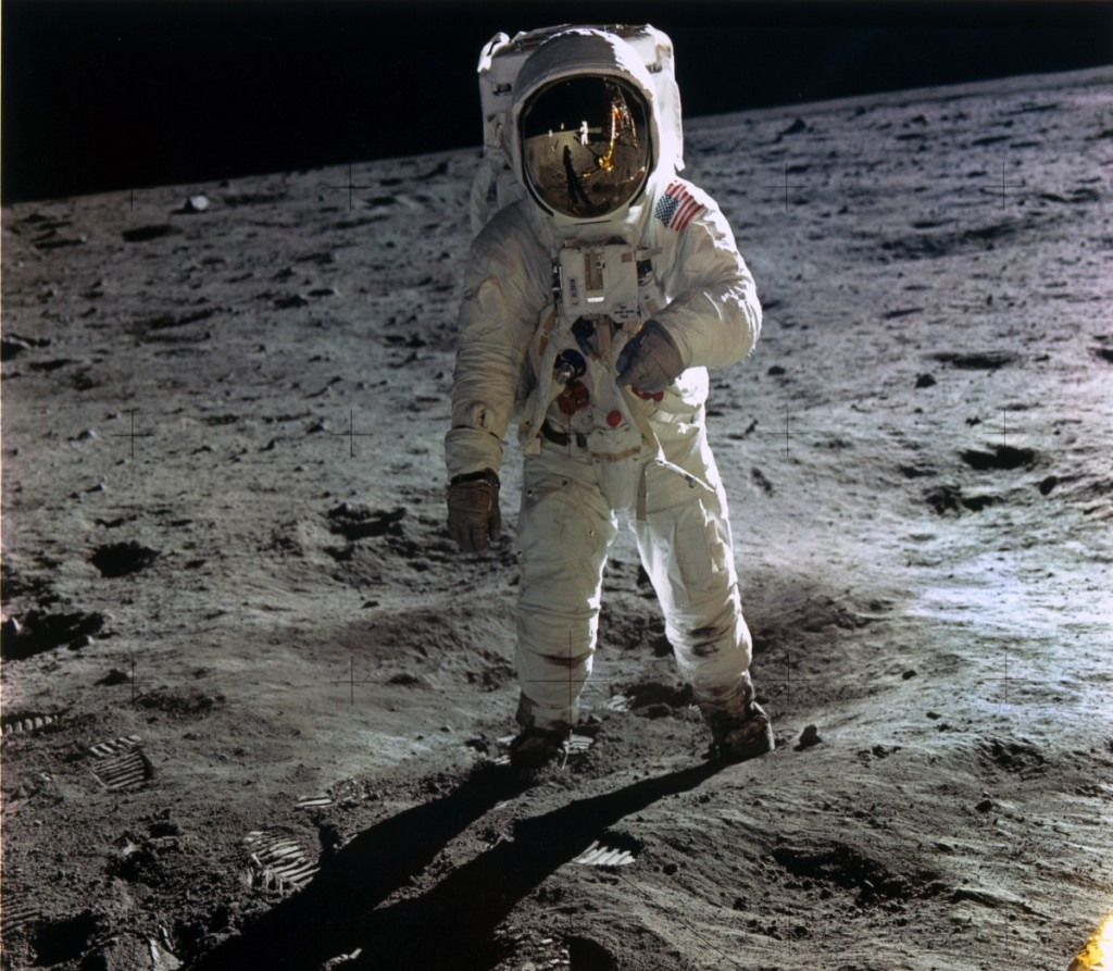 """Buzz Aldrin Walking on the Surface of the Moon near a Leg of the Lunar Module"" by Neil Armstrong (American, 1930–2012), NASA Apollo 11, 1969, printed later. Dye transfer print, 16-  by 16-  inches. The Metropolitan Museum of Art, Purchase, Alfred Stieglitz Society Gifts, 2017."