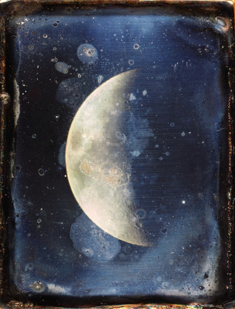 """View of the Moon"" by John Adams Whipple, (American, 1822–1891),1852. Daguerreotype, 3⅞ by 3 inches. John G. Wolbach Library, Harvard College Observatory, Cambridge, Mass."