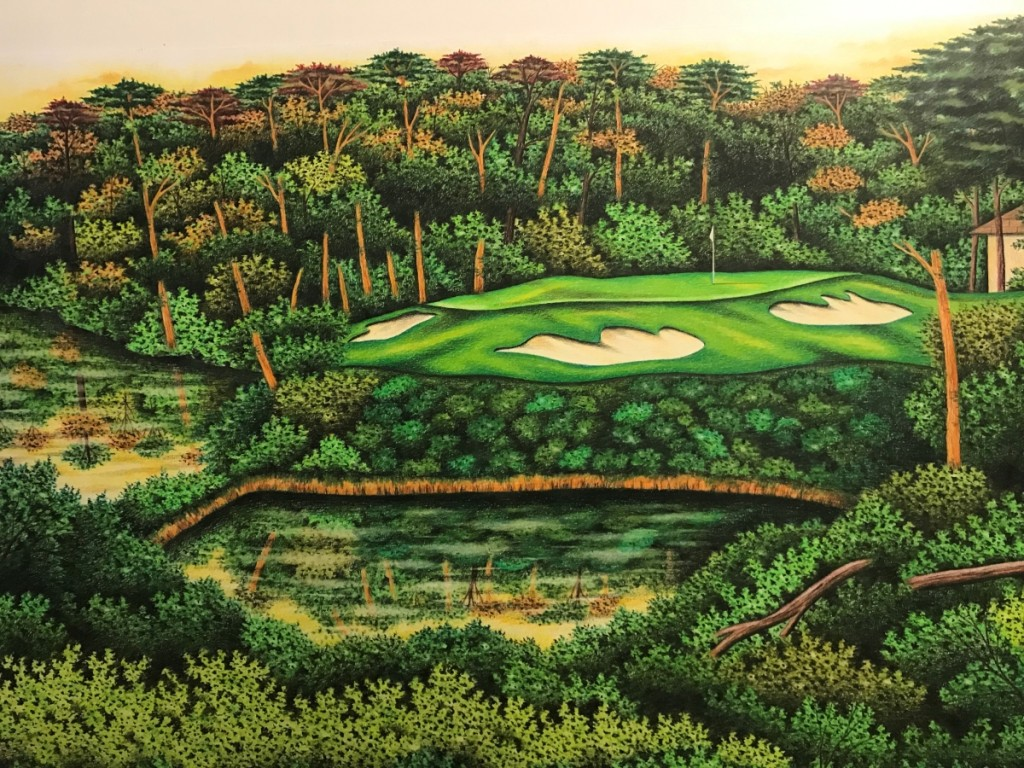 A colored pencil on paper drawing of Japanese golf course Hirono by Valentino Dixon,   20 by 30 inches, 2016.