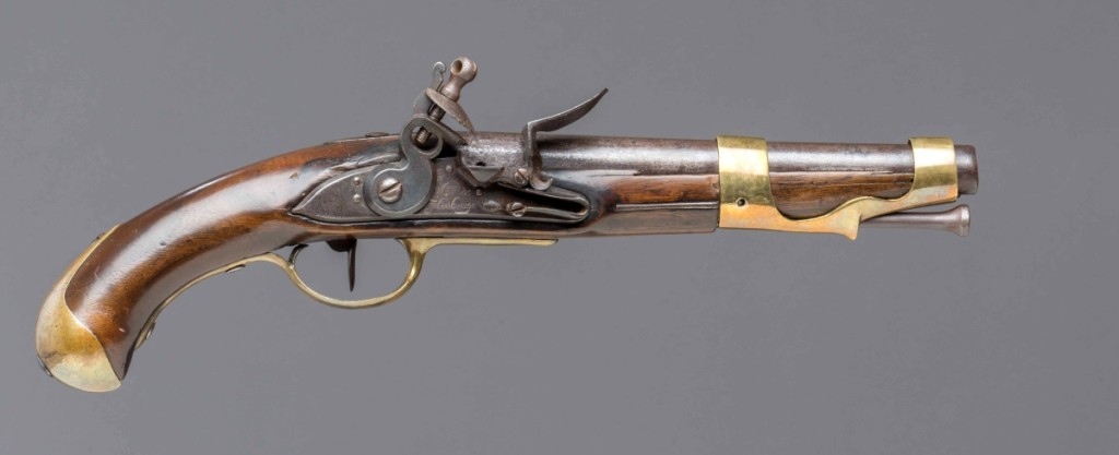 French M-1766 cavalry pistol, Royal Manufactory at Maubeuge, 1774. Walnut, iron, steel and brass. Museum purchase. Photo courtesy of The Art Museums of Colonial Williamsburg.