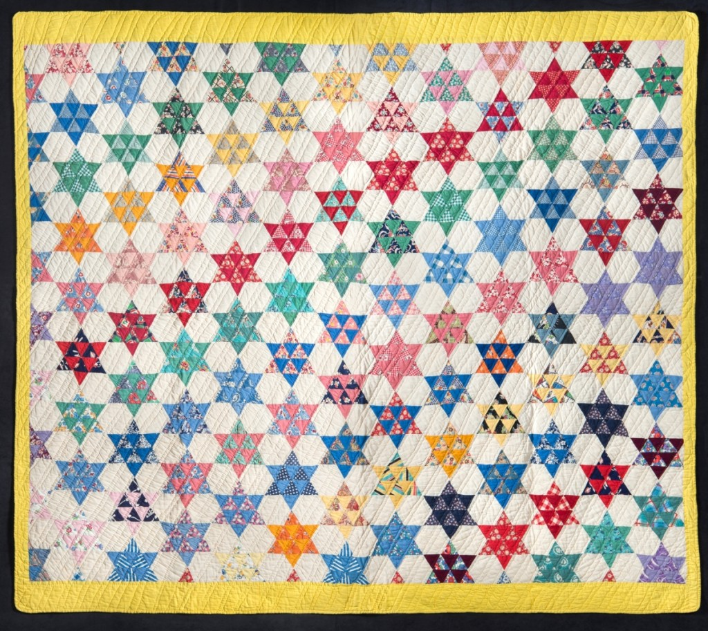 Touching Stars Quilt, artist unidentified, United States, circa 1935, cotton, 75 by 84 inches.