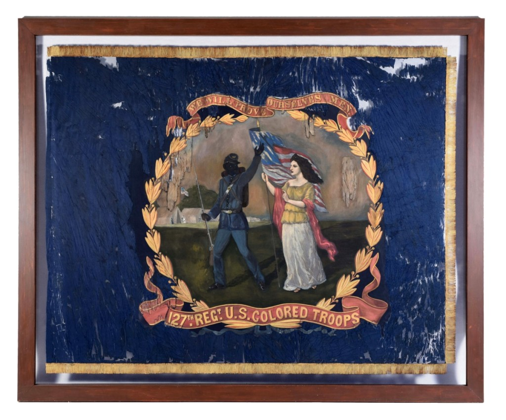 This 1864 battle flag was carried by the 127th Regiment US Colored Troops and hand painted by African American artist and Union troop David Bustill Bowser (1820–1890). It is the only surviving flag of those Bowser created for the 11 Pennsylvania Black regiments, and it finished at $196,800.