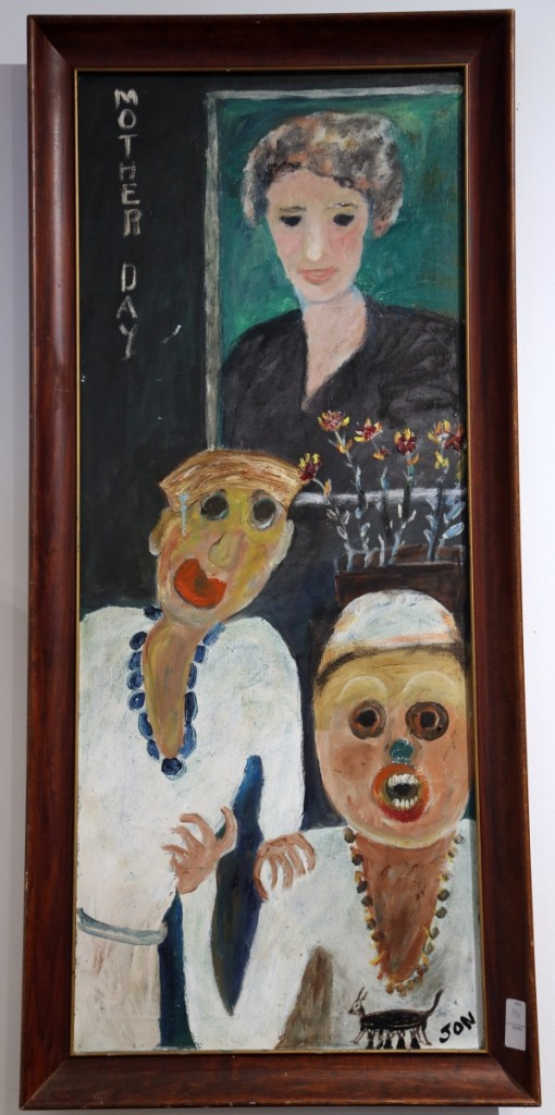 "Outsider artist Jon Serl's 44-by-18-inch oil on canvas titled ""Mother Day"" would sell for $5,750."
