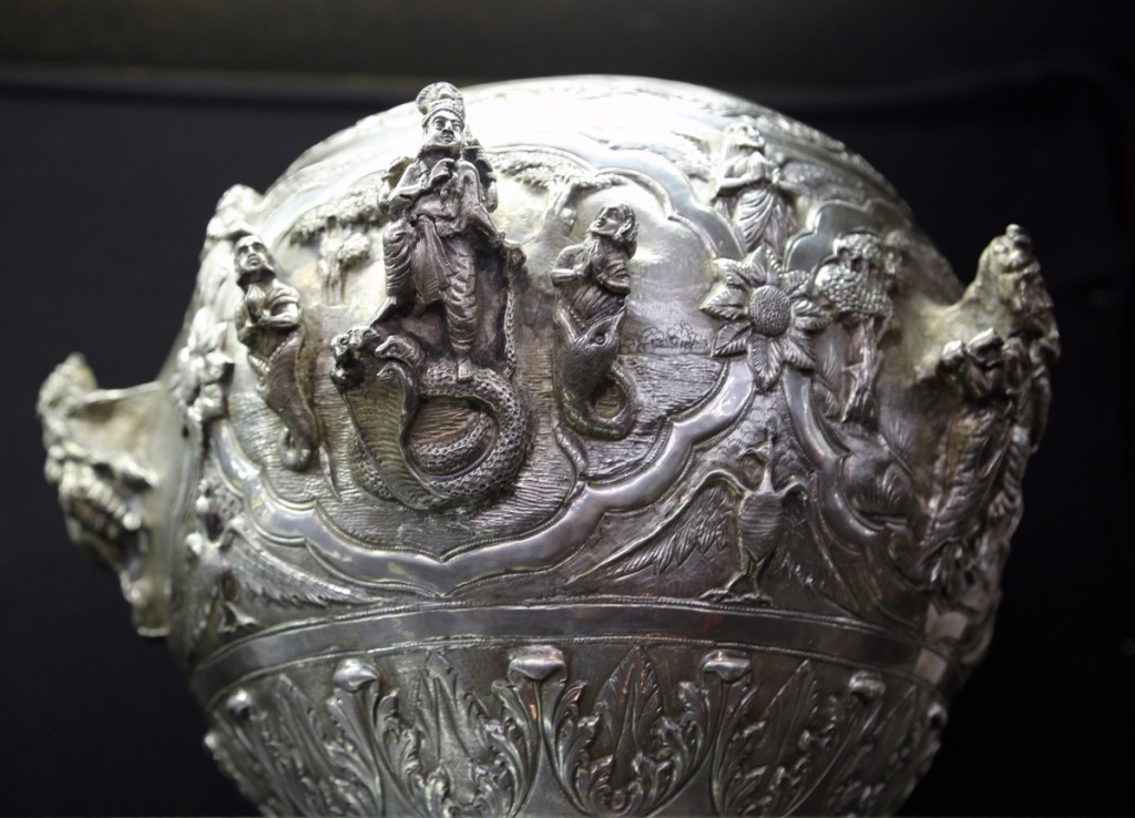 Leading the Burmese silver offerings was this Nineteenth Century bowl with applied figures and detailed repoussé. It would sell for $2,440.